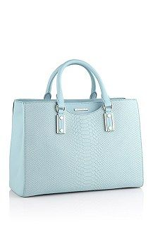 abf5fb0a80a 'Mila-P' | Python Print Leather Handbag with Detachable Shoulder Strap ,  Light Blue. '