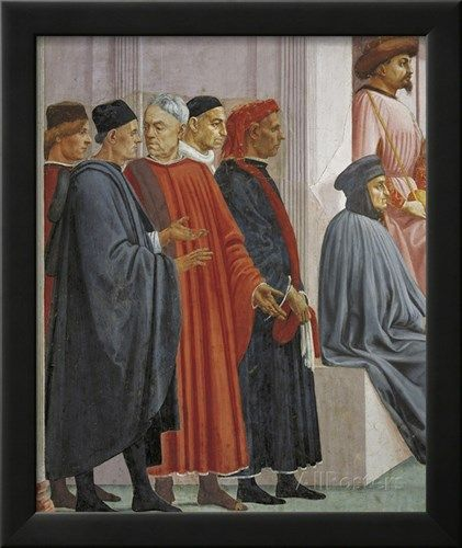 Men in Medieval Dress, Detail from the Raising of the Son of Theophilus Giclee Print by Tommaso Masaccio - AllPosters.co.uk