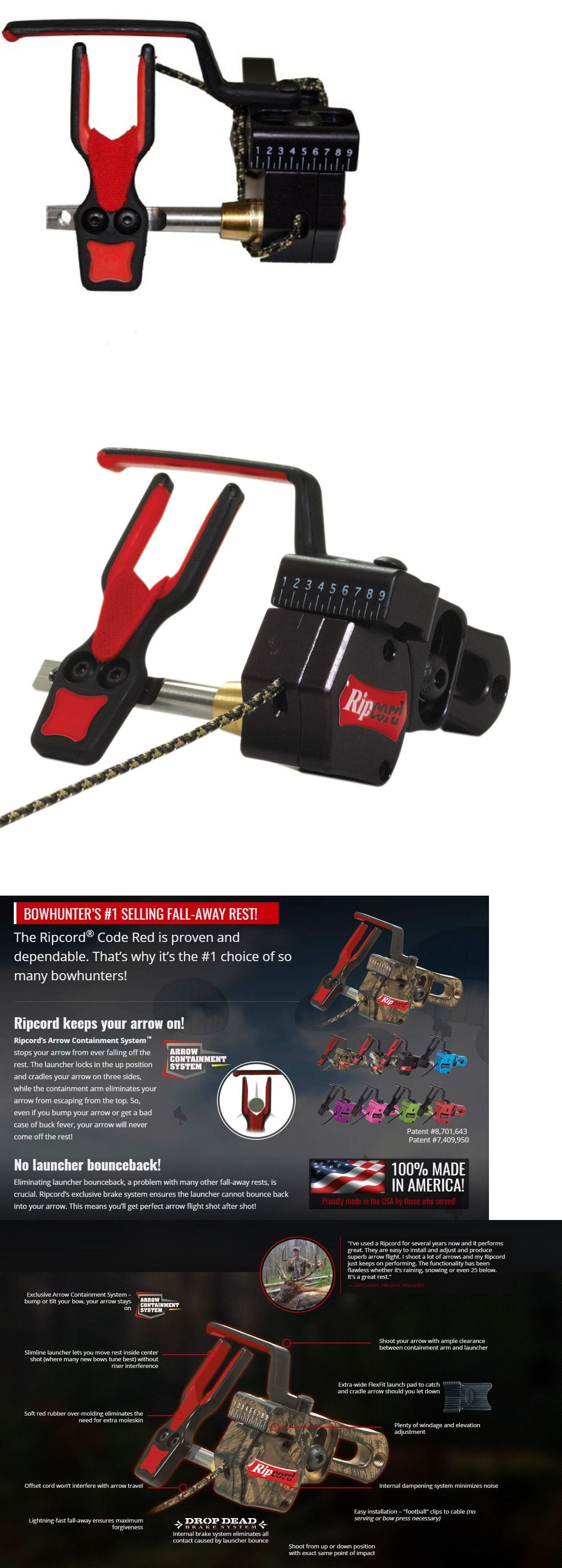 Arrow Rests Ripcord Fall Away Rest Rh Red