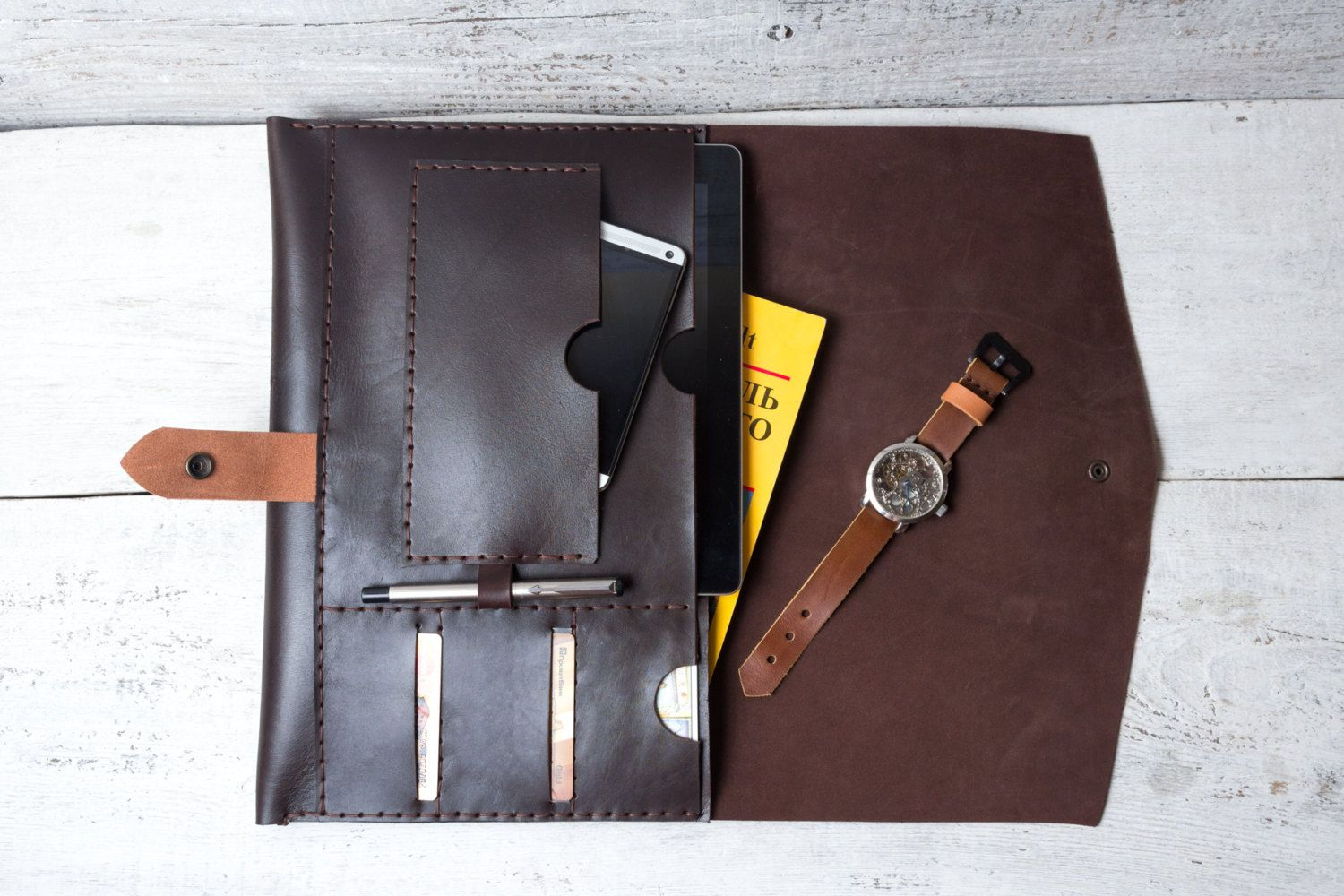 Macbook 13 Pro / Air portfolio organizer case. Made from full grain deep brown color leather. by viveo on Etsy
