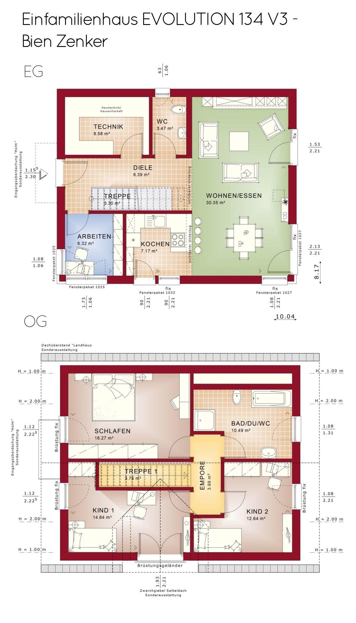 Grundriss Einfamilienhaus mit Satteldach Architektur