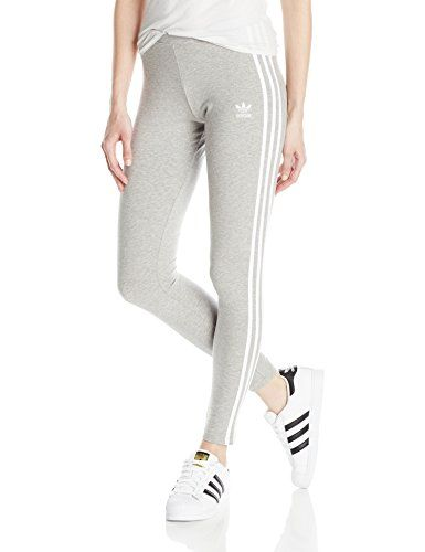 Womens adidas Originals 3-Stripes Tights In Medium Grey Heather