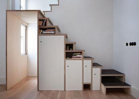 L 39 escalier en contreplaqu par buj col n arquitectos int gre divers range - Escalier rangement integre ...