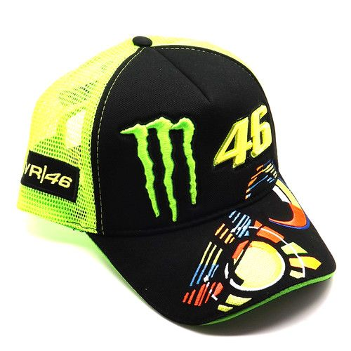 6ee133fc3e4 This trucker cap has contrast mesh sides with the VR46 logo and an  adjustable strap at the back for a customised fit. The Valentino Rossi ...