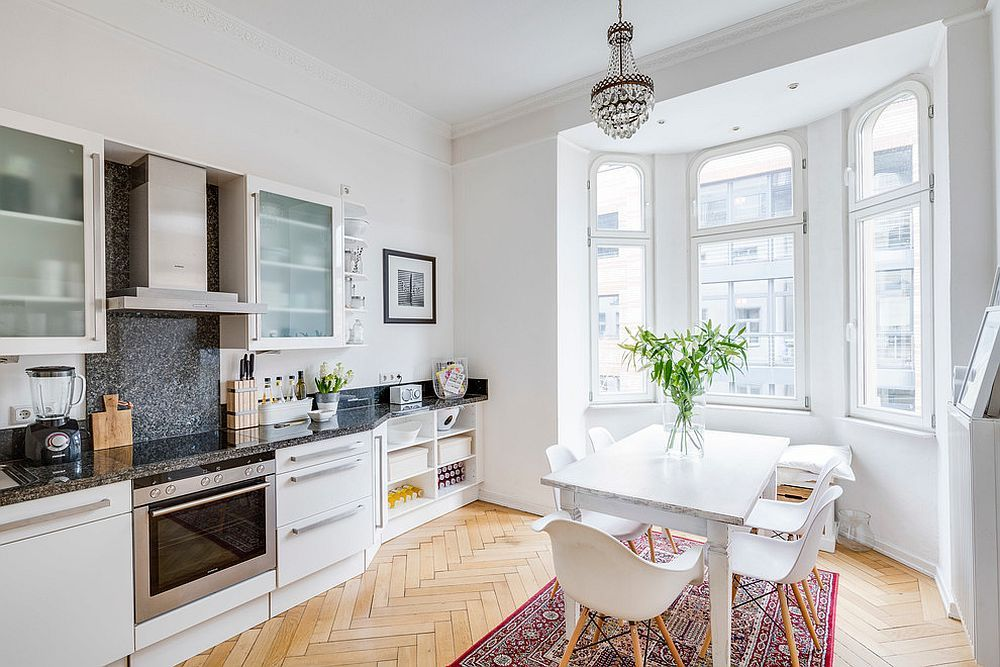 White Scandinavian Kitchen With A Flood Of Natural Light And Herringbone  Floor [From: Sven Part 71