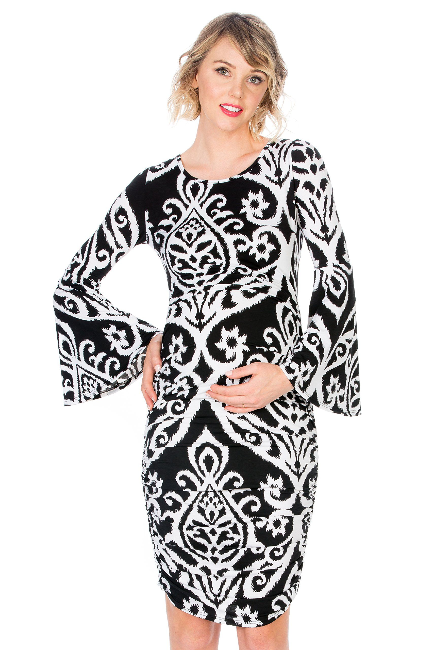 9a9a8a63b1 Maternity Outfits - comfortable maternity maxi dress : My Bump Womens  Maternity Fitted Bell Sleeve Dress W/Ruched Blk/Ivory DM XLarge ** Click  image to ...