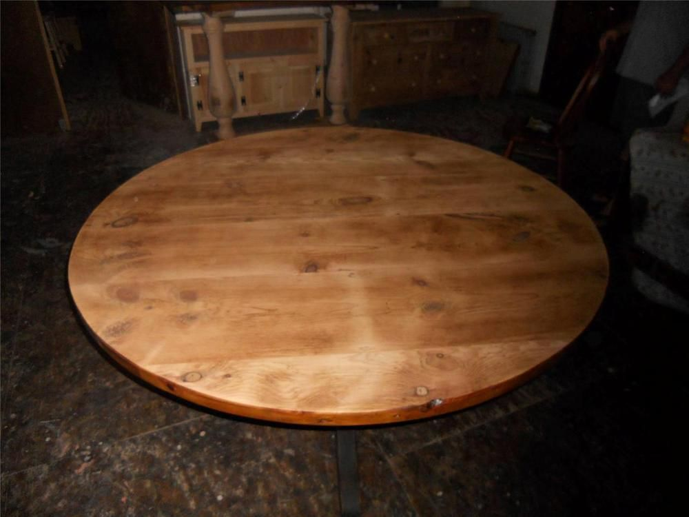 Amish Built Unfinished Reclaimed Barn Wood Round Restaurant Bar Table Tops Handmade