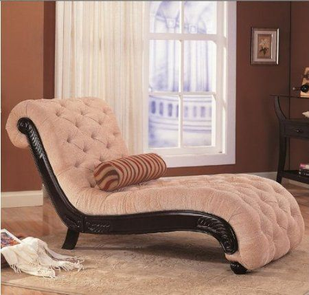 Amazon.com - Coaster Chaise Lounge with Tufted Beige Fabric Black Wood Base - Tantric : tantra chaise lounge - Sectionals, Sofas & Couches