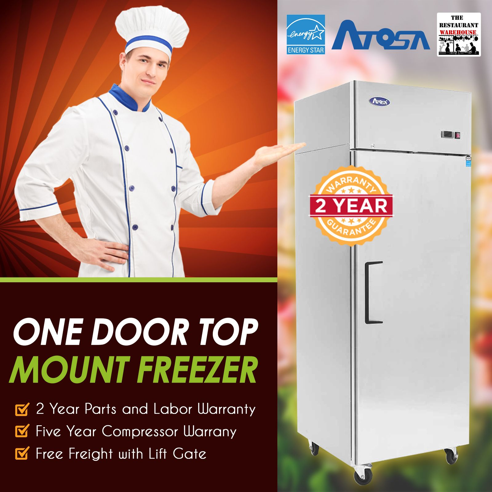 Atosa USA MBF8001 Series Stainless Steel 29Inch One Door