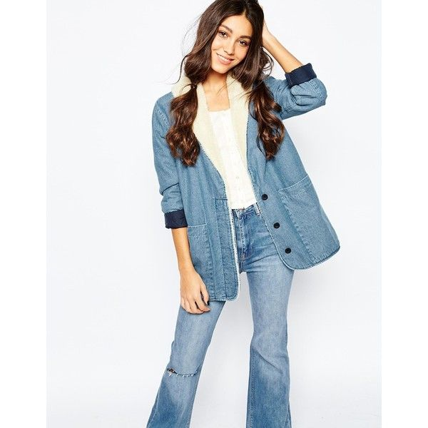 Rollas Borg Denim Jacket (€180) ❤ liked on Polyvore featuring outerwear, jackets, blue, blue jean jacket, white jean jacket, shawl collar jacket, tall jackets and denim jacket