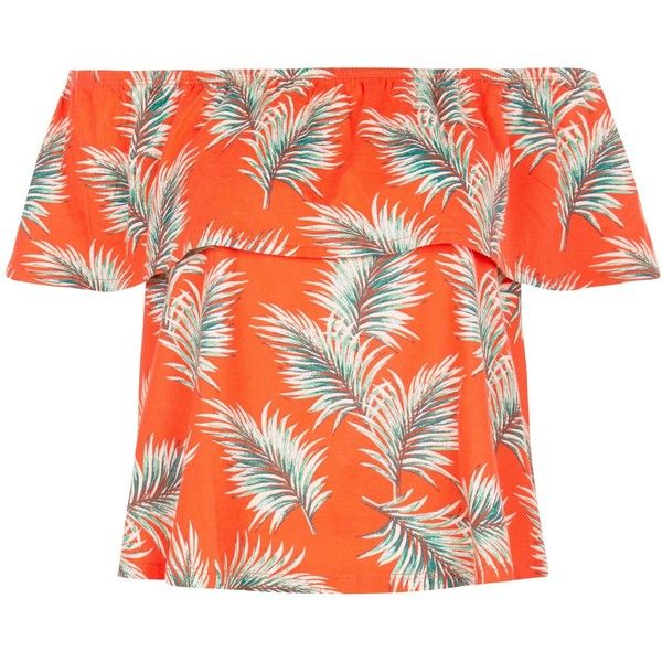 New Look Red Palm Leaf Print Frill Bardot Neck Top ($15) ❤ liked on Polyvore featuring tops, summer tops, frill top, palm print top, orange top and palm tree top