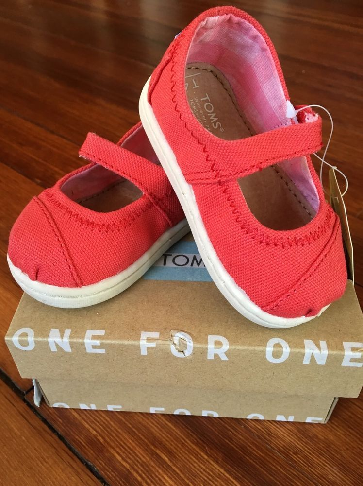 TOMS Infant Toddler Girl Tiny 4 Red Canvas Mary Jane Shoes Spring Easter #Toms #MaryJanes