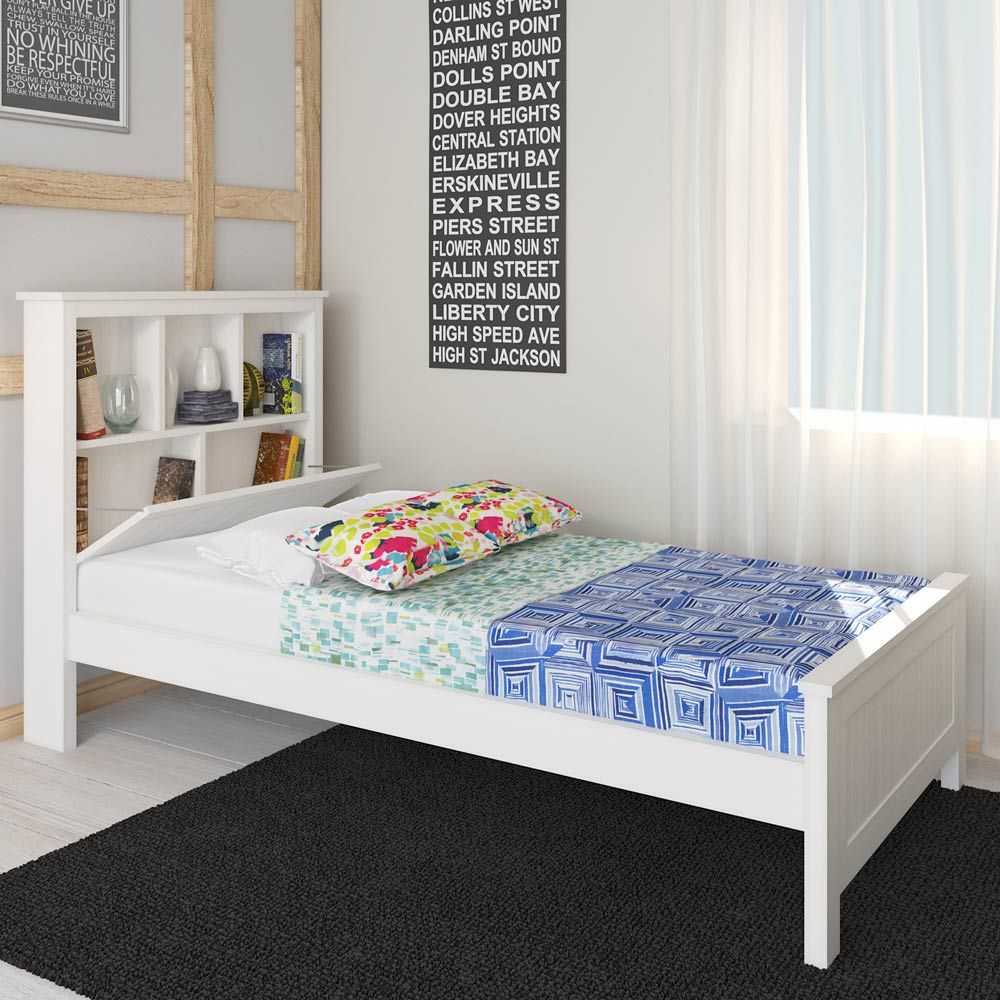 livia solid pine timber bed with storage king single white pine