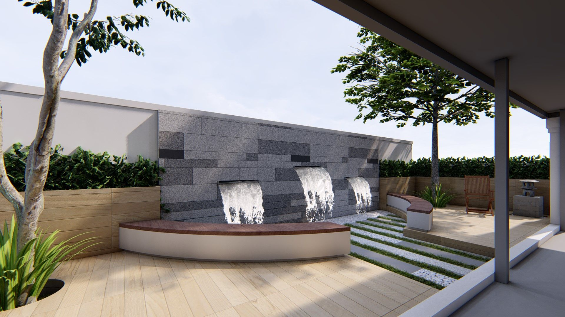 Landscape Design Perspective Water Feature Modern Landscape Urban Design Landscape Corridor And Entryway Residential Garden Private Garden Pavilion Lan