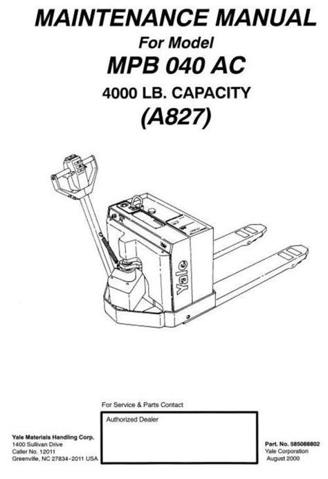 Download Operators Manual For Yale Power Jack PDF