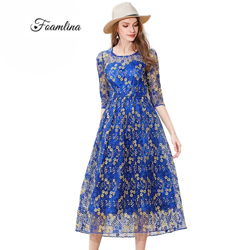 Click to buy ucuc foamlina elegant womenus embroidered see through