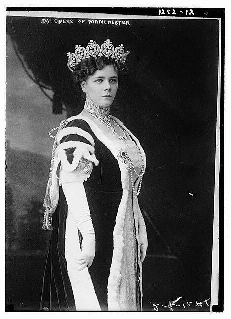 Helena Zimmerman was the daughter of a Cincinnati millionaire. She married the 9th Duke of Manchester in 1900.  The Duke married without his parents' consent to resolve debts of 135,000.  They had 4 children and divorced in 1931.  The Duke married another wealthy American less than a year later.  Helena's mother-in-law, Consuelo Yznaga, was also an American who married the 8th Duke for financial reasons.  Helena wears the large Manchester tiara in this photo.