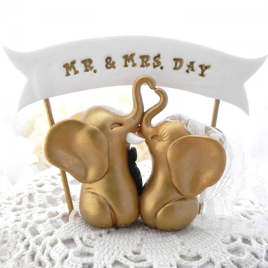 Elephant Wedding Cake Topper Gold And Black Custom Phrase Banner Bride Groom