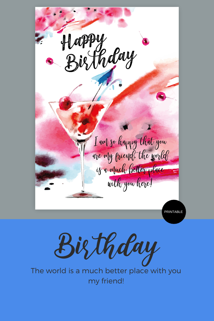 Printable Happy Birthday Friend Greeting Card Instant Digital Printable Download Happy Birthday Friend Birthday Greeting Cards Happy Birthday