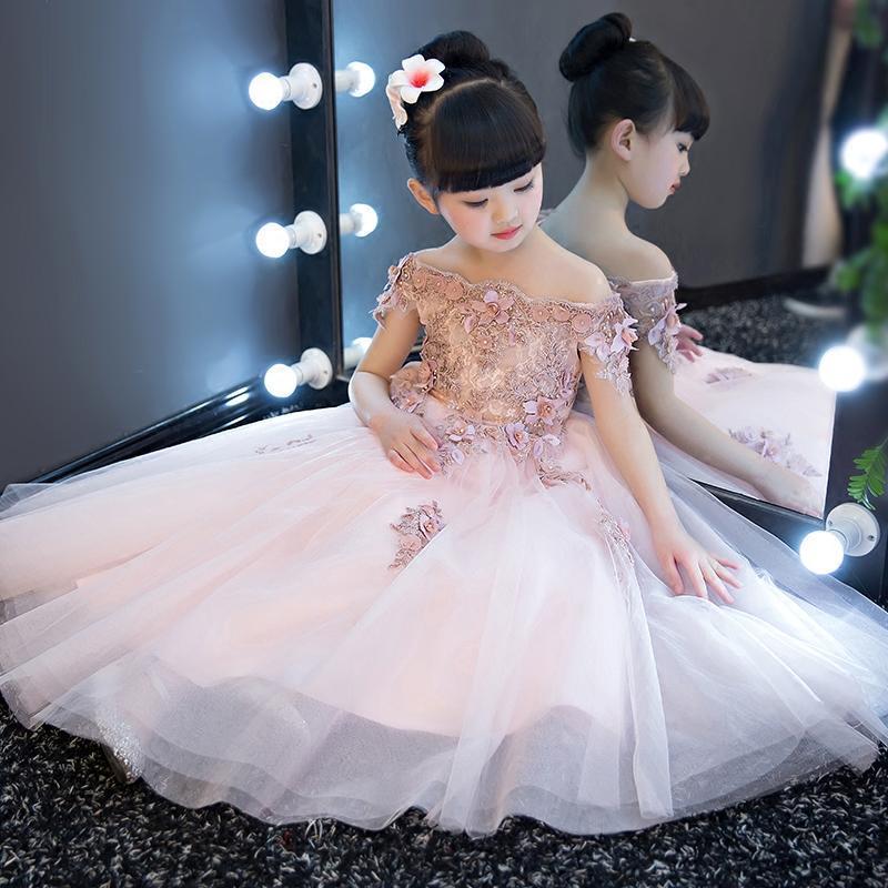Flower Girls Off-Shoulder Princess Party Dress Wedding Birthday Tutu Dress