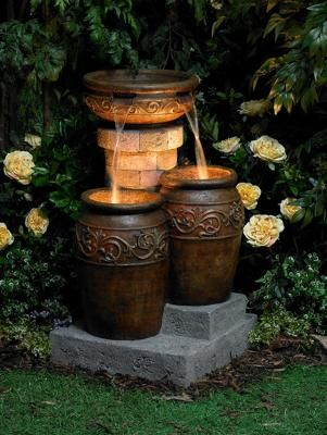 Outdoor+Patio+Water+Fountains | ... Floor 3 Jug Indoor Outdoor Garden Water  Lights Illuminated Fountain