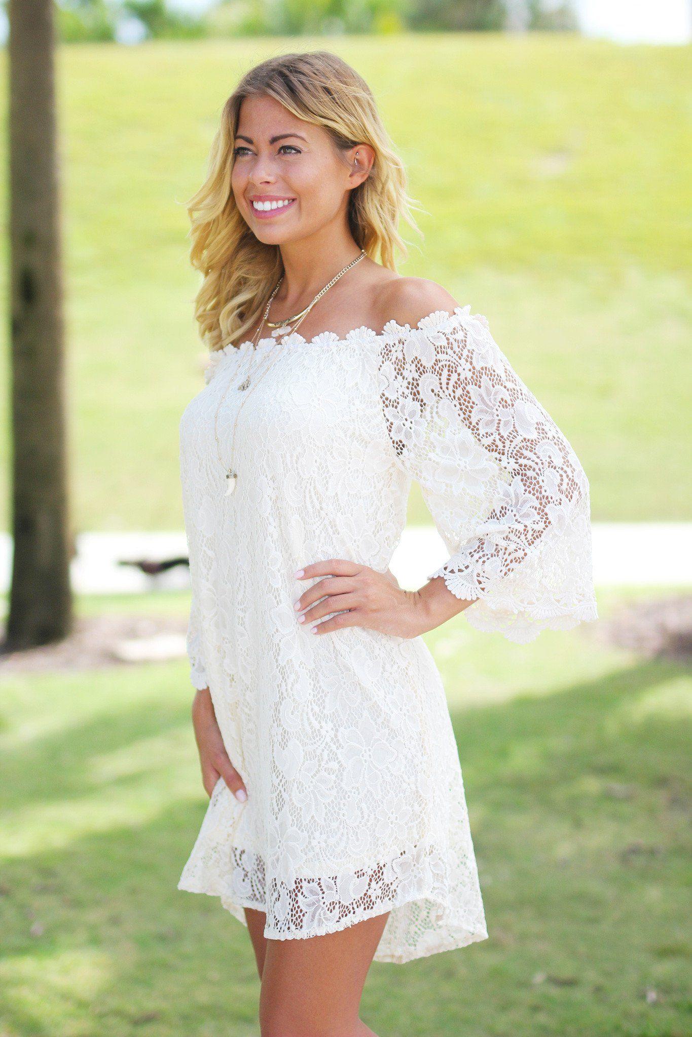 Cream Lace Off Shoulder Short Dress In 2019 Short Lace