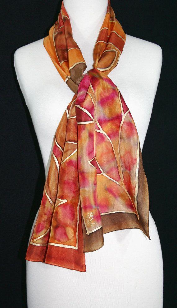 Dark Terracotta Silk Scarf