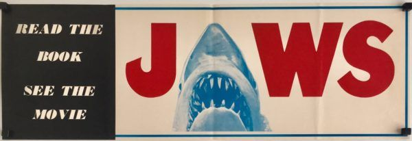 Jaws 1975 Book And Movie Banner Flyer Poster Extremely Rare Not Seen