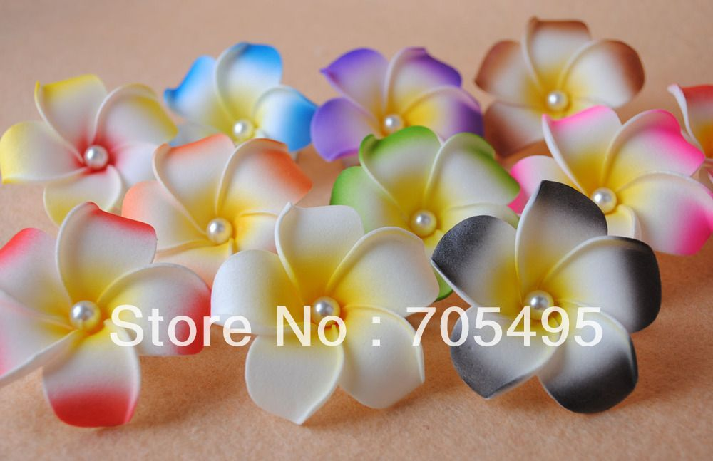 100pcs Lot With Pearl Free Shipping Wedding Decoration Diy Hair Accessory Foam Plumeria Frangipan Diy Wedding Decorations Diy Hair Accessories Hawaiian Flowers