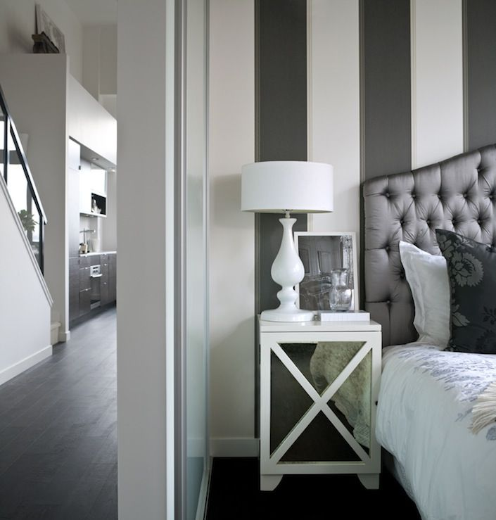 Chic bedroom design with white u0026 charcoal
