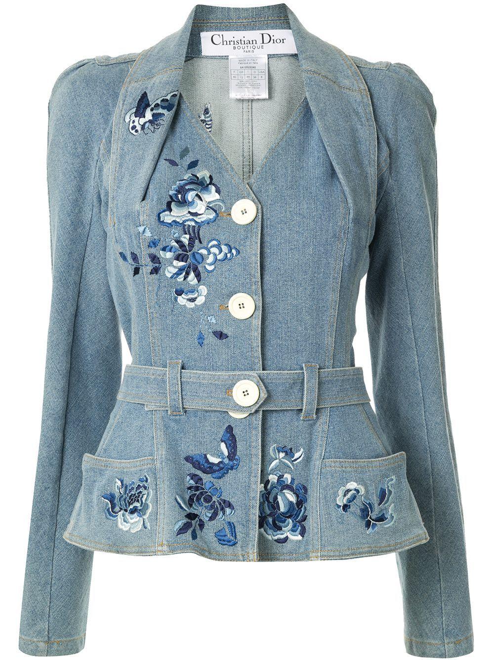 Christian Dior Pre Owned Power Shoulder Denim Jacket Farfetch Vintage Denim Jacket Vintage Jacket Embroidered Denim Jacket [ 1334 x 1000 Pixel ]
