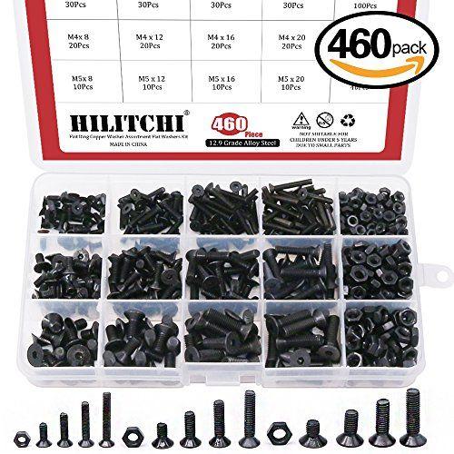 460pcs//box M3 M4 M5 Black 10.9 Hex Socket Head Flat Countersunk Screw Nut Set