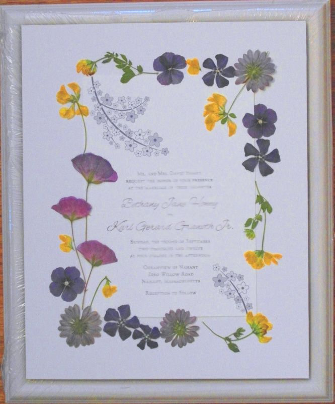 Pressed Wedding Flowers: A Framed Wedding Invitation Keepsake Embellished With