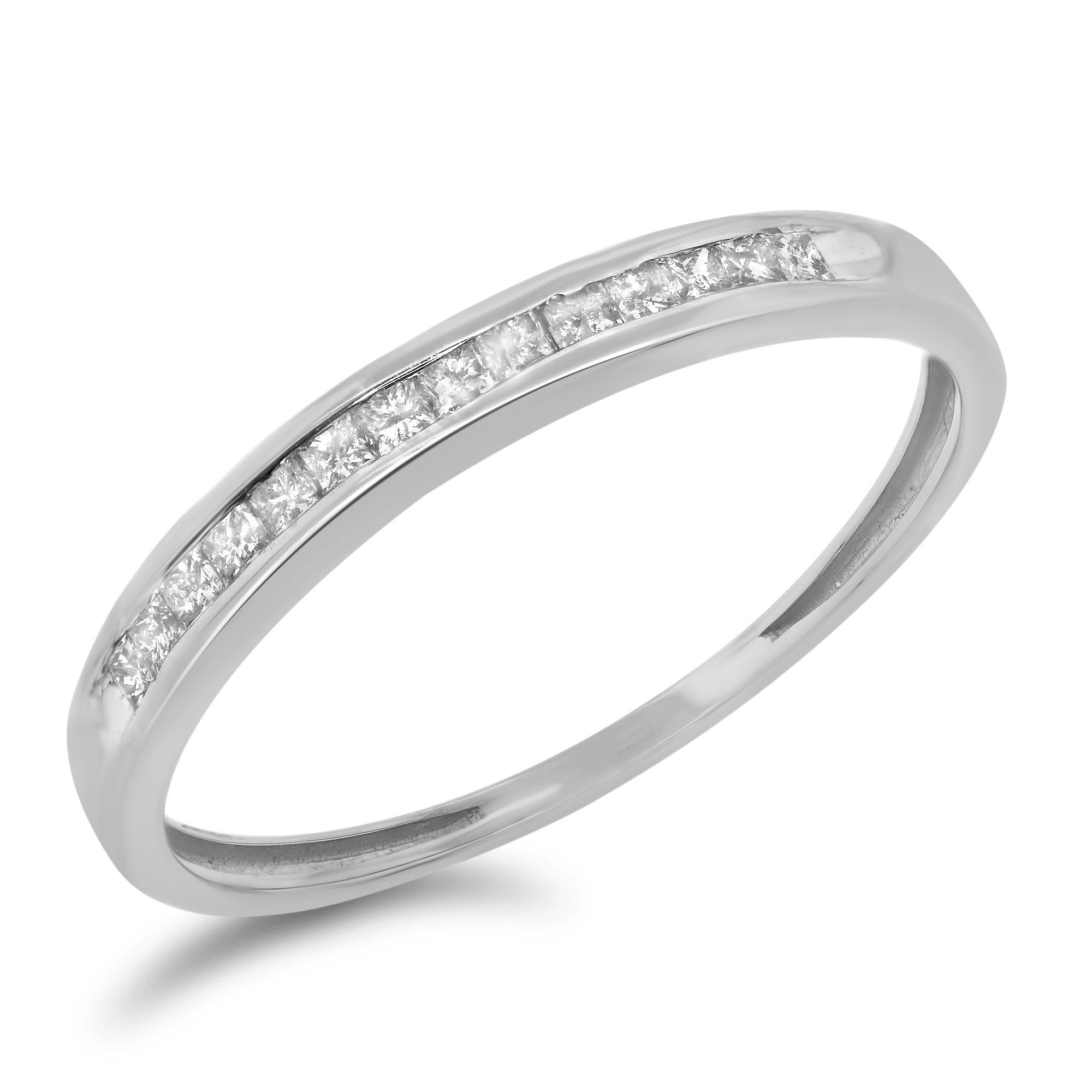 gold channel diamond set bands wedding band anniversary curved white in tw