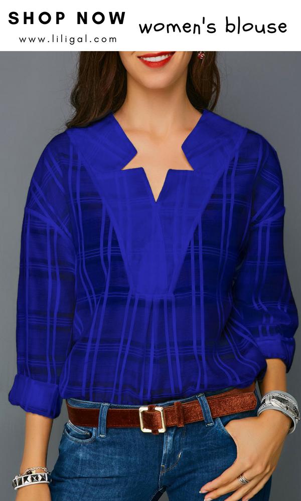 27316bf7c0 Royal Blue Curved Hem Long Sleeve Blouse  liligal  blouse  tshirt ...