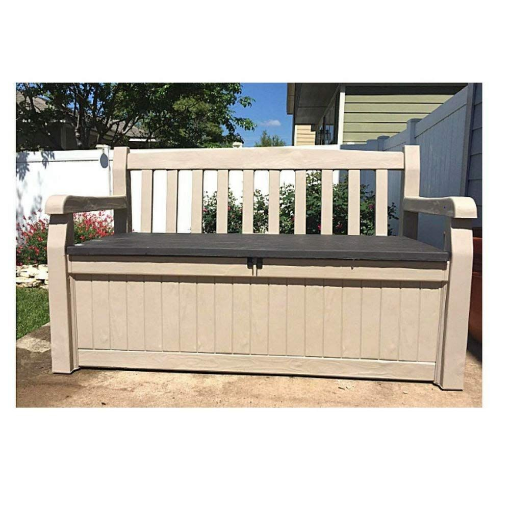 50 Inch Wide Storage Bench Outdoor Loveseat Deck Box Slat Style