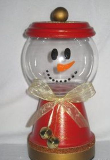 medium sized clay snowman candy jar dish by seasonaljars on etsy - Christmas Candy Dishes