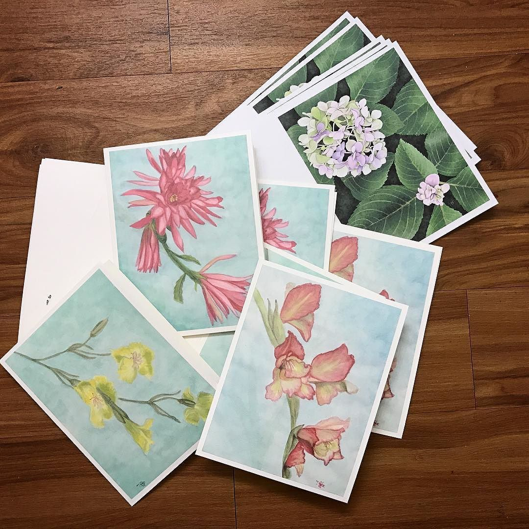 Printed Some Of My Flowers Onto Greeting Card Blanks