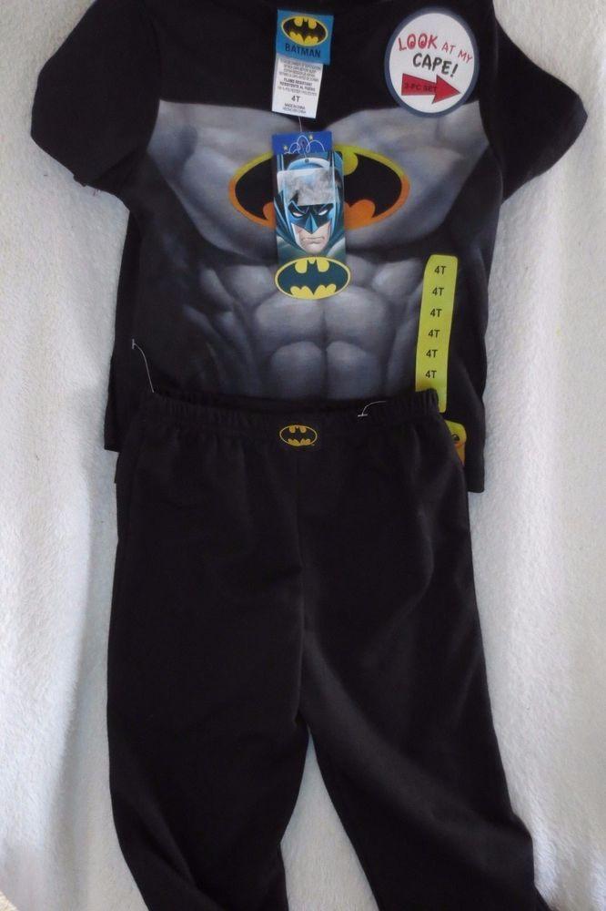 New Boy s DC Comics 3 Pc BATMAN WITH CAPE Pajamas Set 21e6dee2a