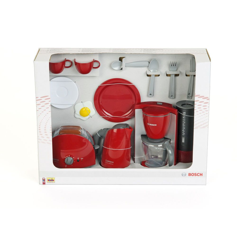 bosch kitchen set commercial trash can kids play breakfast toy toaster dishes cups pretend theo klein boschkleintoys