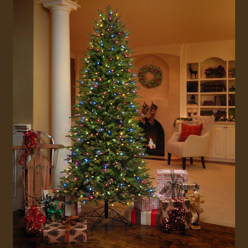 GE, Árbol de Navidad artificial delgado de 2.2 metros con 500 luces ...