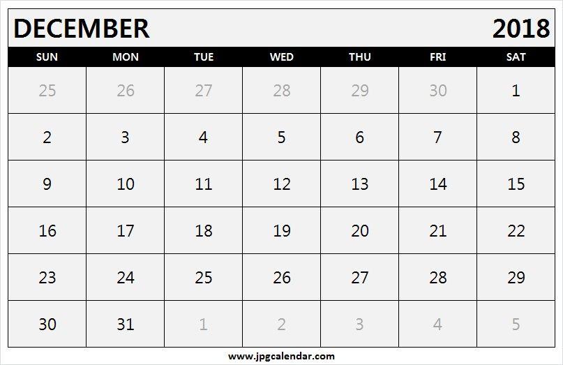 printable december 2018 calendar landscape