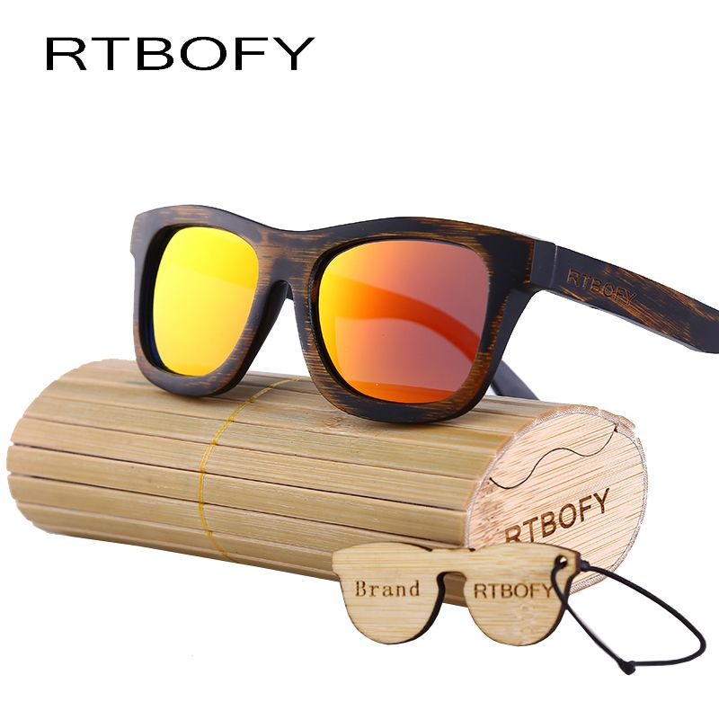 9f681208198 RTBOFY 2017 New fashion Products Men Sunglass Bamboo Sun Glasses Vintage  Wood HD Polaroid Lens Wooden Frame Handmade