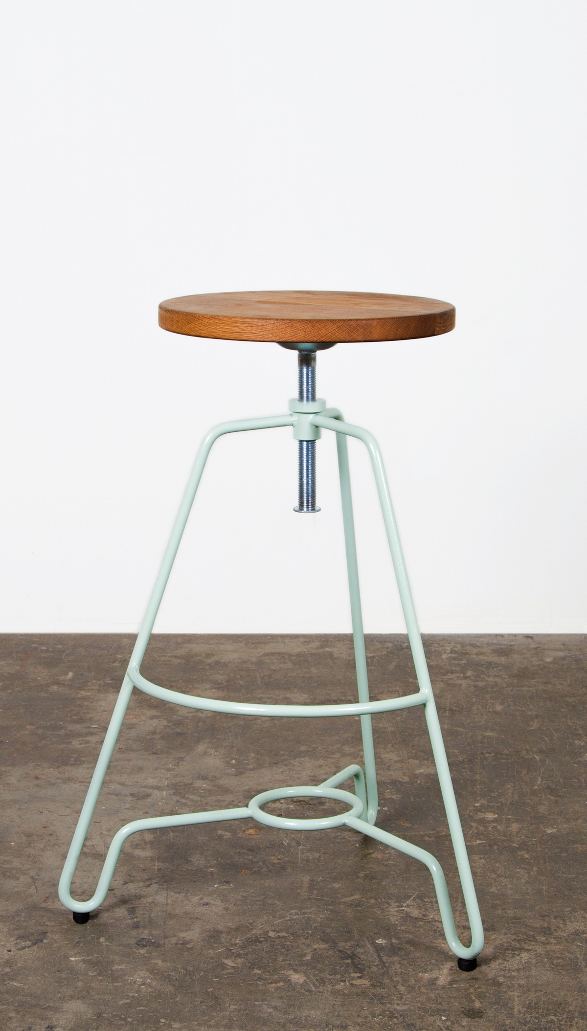 Industrial style bar stool with wooden top and ivory white metal stand