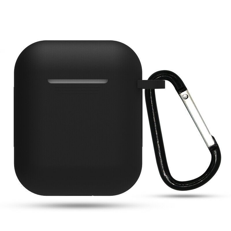 Apple Airpods Silicone Case Cover Black With Keychain For Airpod Charging Case Ebay Airpod Airpods Apple Bla Earbuds Case Airpod Case Silicon Case