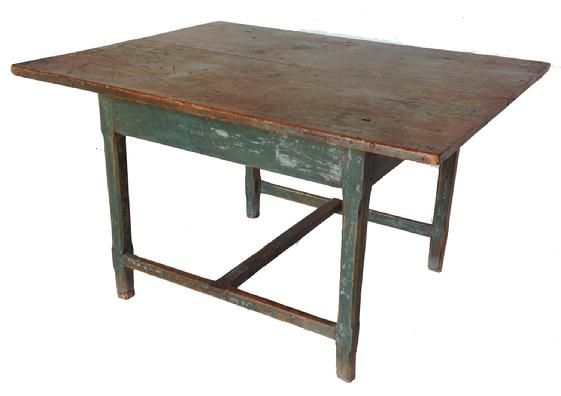 "A RARE ORIGINAL BLUE-PAINTED RECTANGULAR ""H"" STRETCHER TAVERN TABLE.  New England, late 18TH  Century, The base has an dovetailed ""H"" stretcher and the square legs are lambs tongue chamfered. Wide two board top held in place with square head nails, and two dovetailed slotted batons on underside of top.  The table retains full height and original dry blue paint; measurements 44"" long 33"" wide 25 1/2"" tall"
