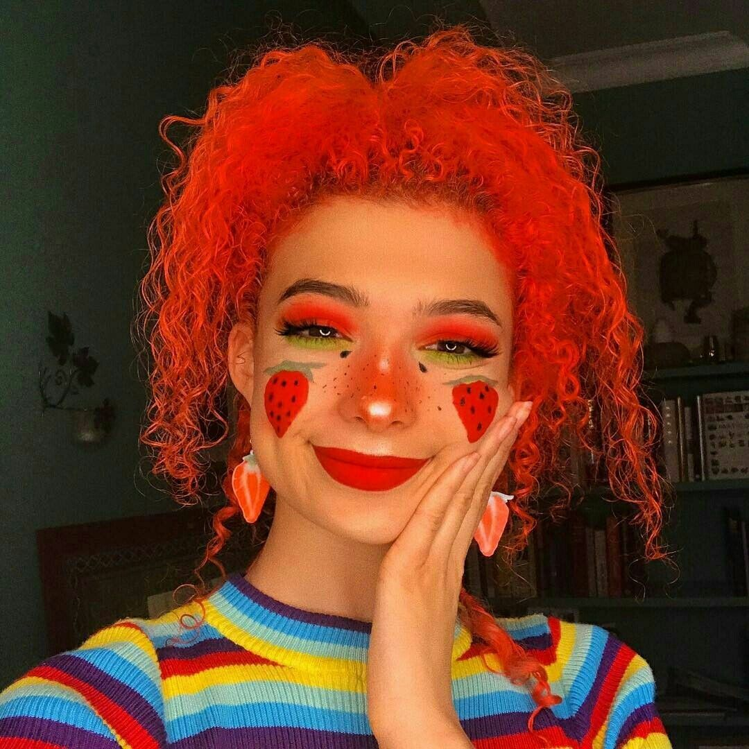 Art , Aesthetic , Mixed Girls , Face paint , Strawberry