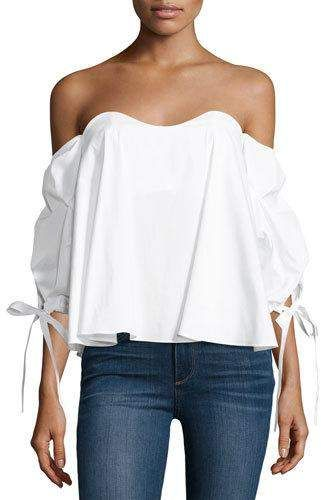 2dd5661f693 Gabriella Off-The-Shoulder Bustier Top White | Products | White ...