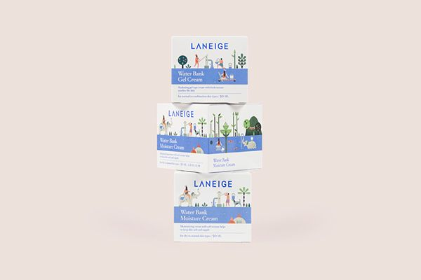 Laneige on Behance  Packaging illustrations for Laneige, a South Korean cosmetics brand owned by Amore Pacific. The special edition packaging and related Waterful campaign aimed to bring awareness to the company's program constructing water tanks in African countries suffering from water shortage.