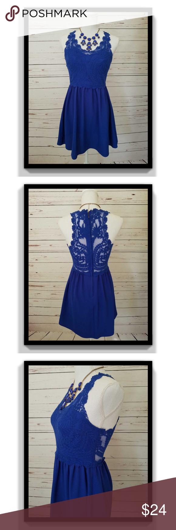 H&m blue lace dress  H uM Lace Dress WSeethrough Back Blue Size  NWT  My Posh Picks
